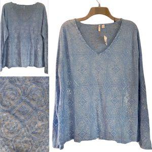 V ~ Neck burn out shirt, blue, sz XL NWT